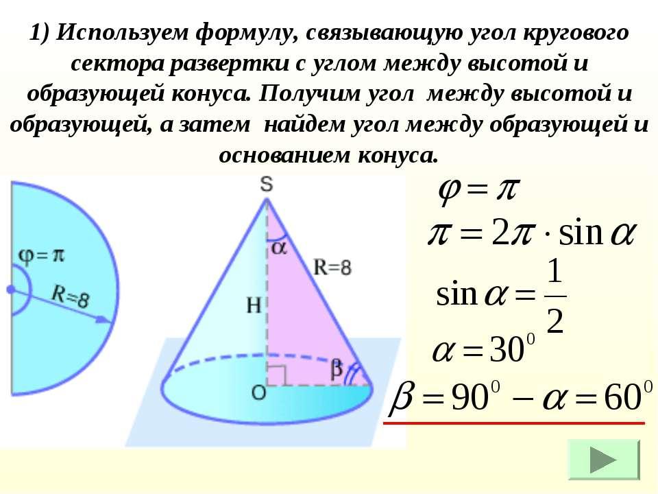 1) Используем формулу, связывающую угол кругового сектора развертки с углом м...