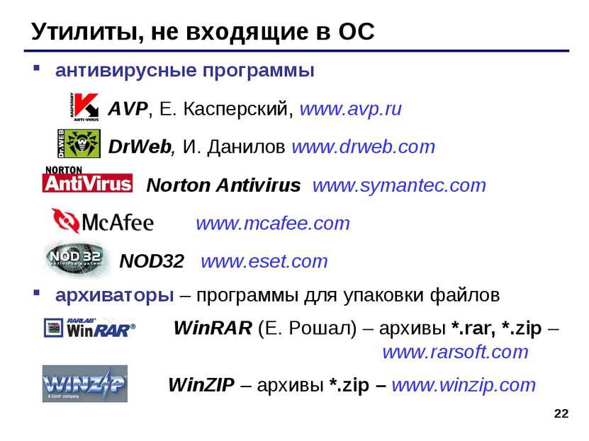 * Утилиты, не входящие в ОС антивирусные программы AVP, Е. Касперский, www.av...