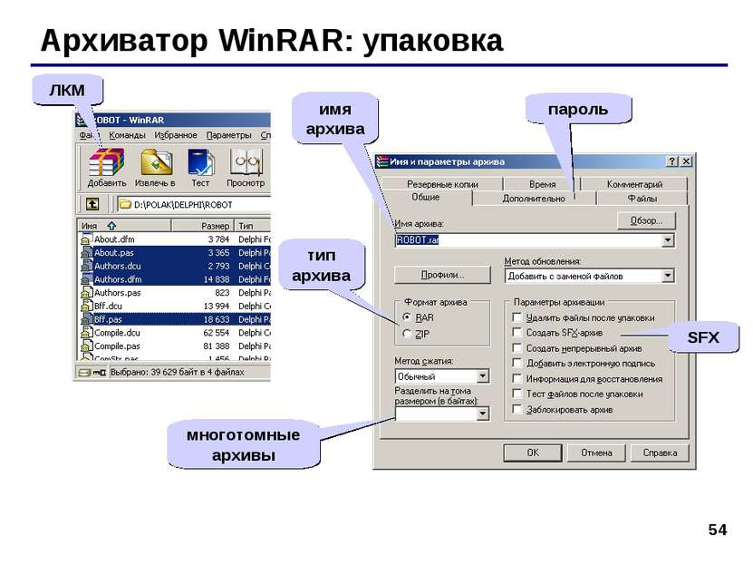* Архиватор WinRAR: упаковка ЛКМ тип архива SFX многотомные архивы пароль имя...