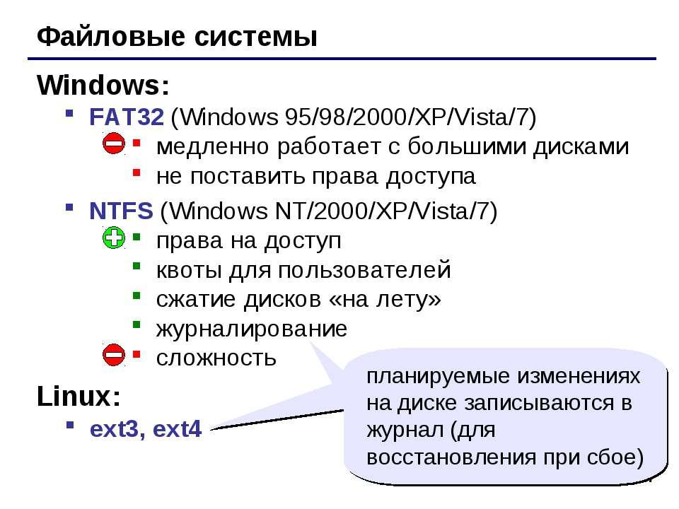 * Файловые системы FAT32 (Windows 95/98/2000/XP/Vista/7) медленно работает с ...