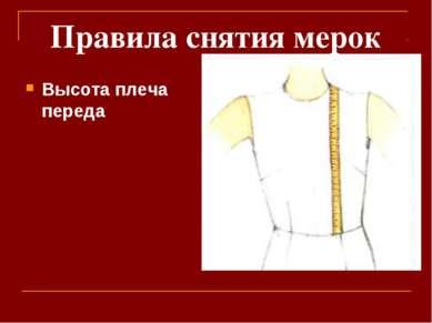 Правила снятия мерок Высота плеча переда