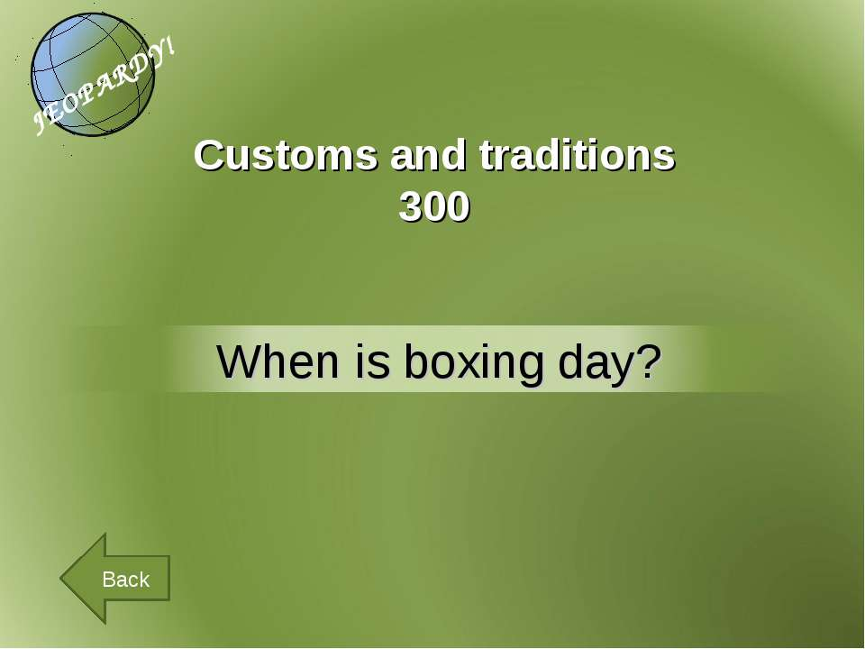 Customs and traditions 300 Back