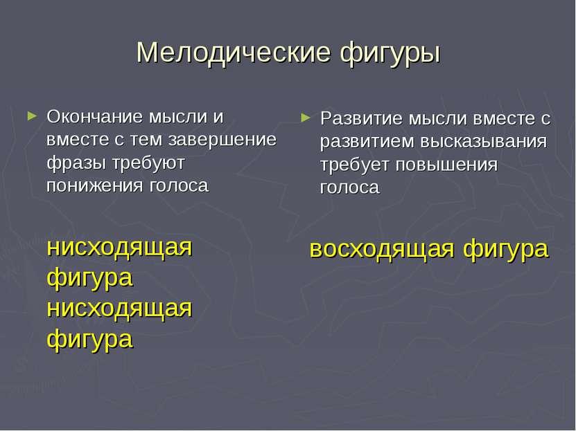 Мелодические фигуры Окончание мысли и вместе с тем завершение фразы требуют п...