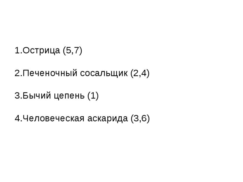 1.Острица (5,7) 2.Печеночный сосальщик (2,4) 3.Бычий цепень (1) 4.Человеческа...