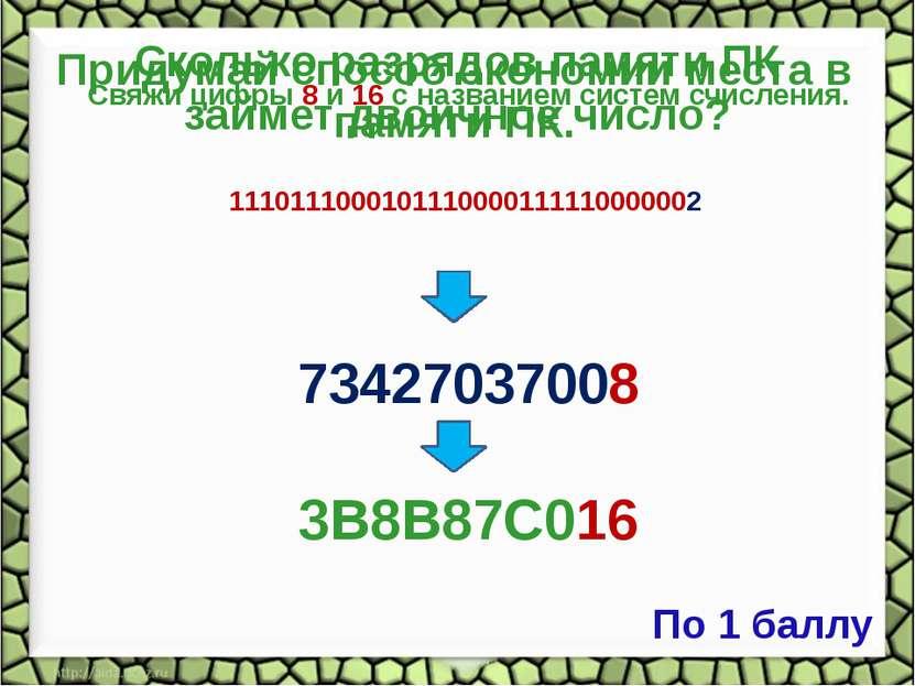 Сколько разрядов памяти ПК займет двоичное число? 111011100010111000011111000...