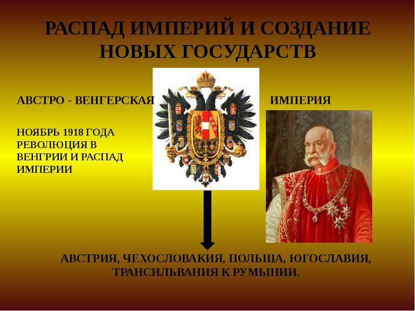 РАСПАД ИМПЕРИЙ И СОЗДАНИЕ НОВЫХ ГОСУДАРСТВ АВСТРО - ВЕНГЕРСКАЯ ИМПЕРИЯ АВСТРИ...