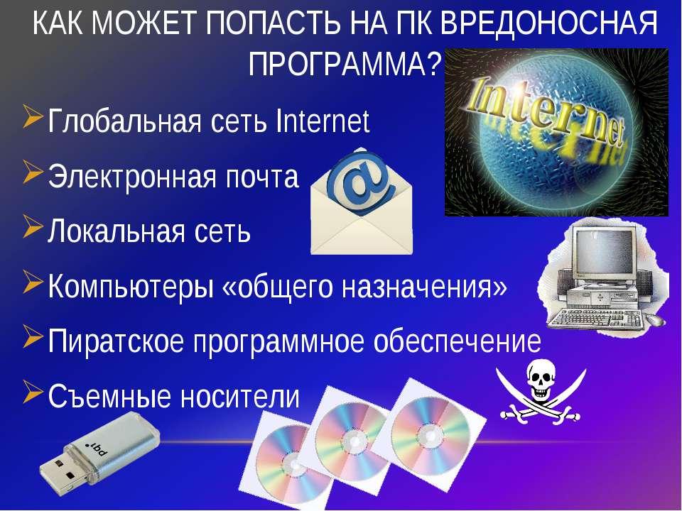 КАК МОЖЕТ ПОПАСТЬ НА ПК ВРЕДОНОСНАЯ ПРОГРАММА? Глобальная сеть Internet Элект...