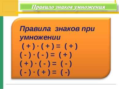 Правила знаков при умножении ( + ) · ( + ) = ( + ) ( - ) · ( - ) = ( + ) ( + ...