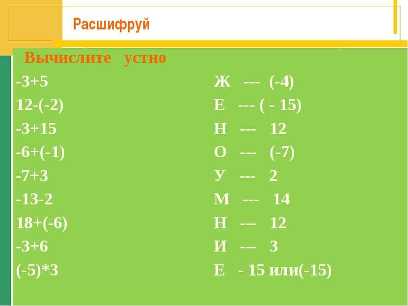 Расшифруй Вычислите устно -3+5 Ж --- (-4) 12-(-2) Е --- ( - 15) -3+15 Н --- 1...