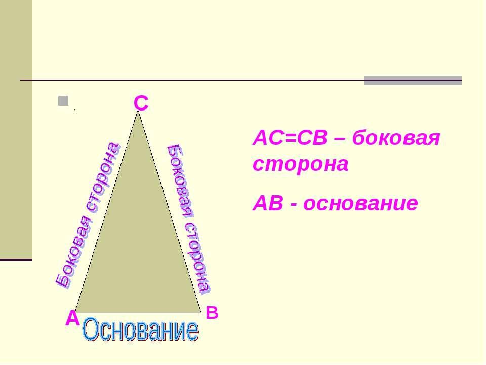 С А В АС=СВ – боковая сторона АВ - основание