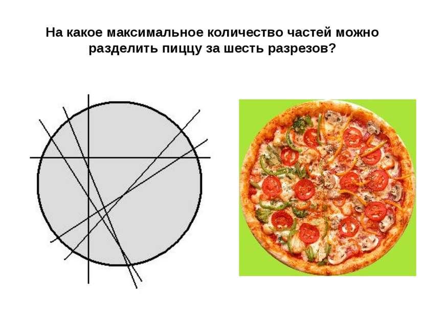 На какое максимальное количество частей можно разделить пиццу за шесть разрезов?