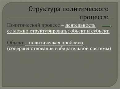 Политический процесс – деятельность ее можно структурировать: объект и субъек...
