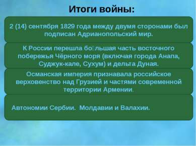 Итоги войны: 2 (14) сентября 1829 года между двумя сторонами был подписан Адр...
