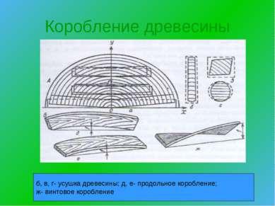 Коробление древесины б, в, г- усушка древесины; д, е- продольное коробление; ...
