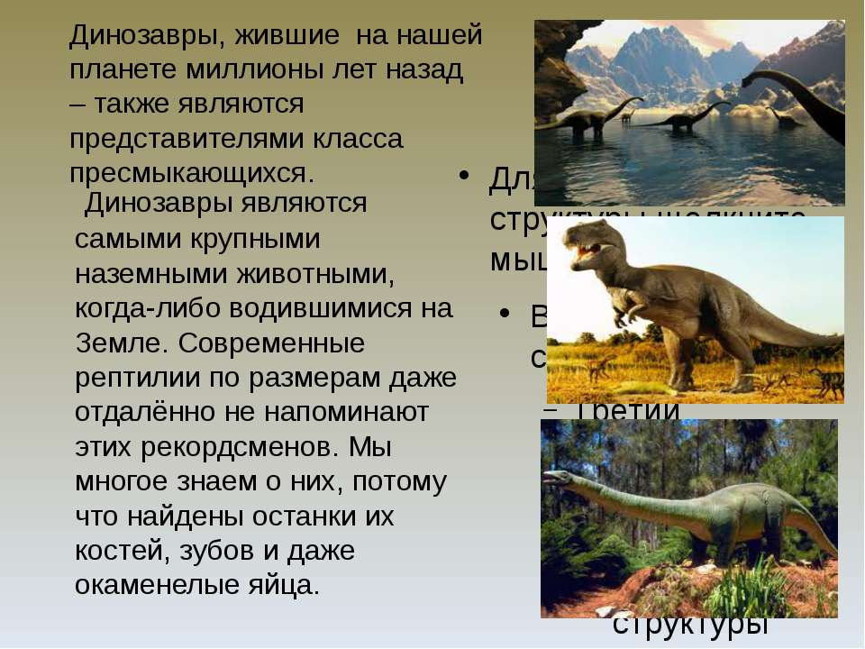 Динозавры, жившие на нашей планете миллионы лет назад – также являются предст...