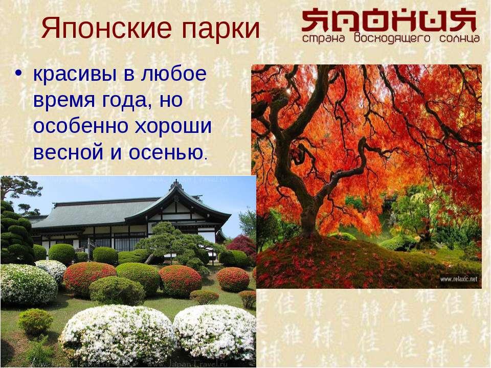 Японские парки красивы в любое время года, но особенно хороши весной и осенью.