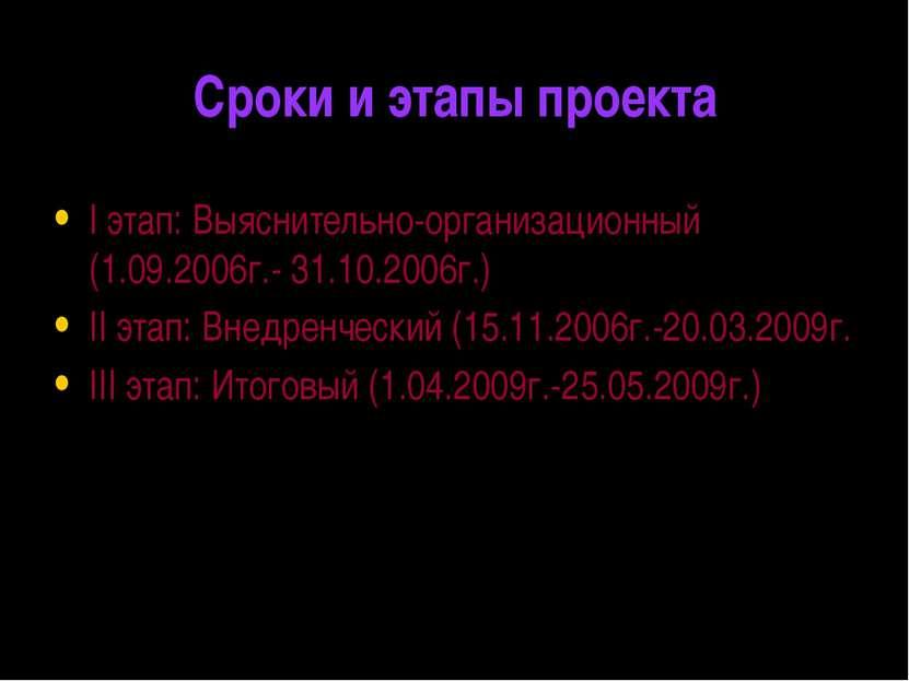 Сроки и этапы проекта I этап: Выяснительно-организационный (1.09.2006г.- 31.1...