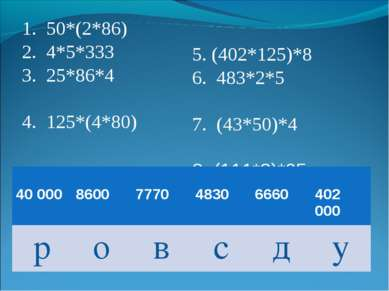 50*(2*86) 4*5*333 25*86*4 125*(4*80) 5. (402*125)*8 6. 483*2*5 7. (43*50)*4 8...