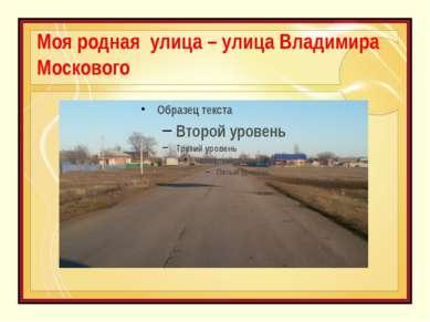 Моя родная улица – улица Владимира Москового