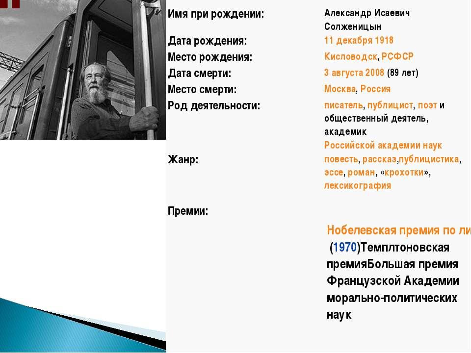Имя при рождении: Александр Исаевич Солженицын Дата рождения: 11декабря1918...