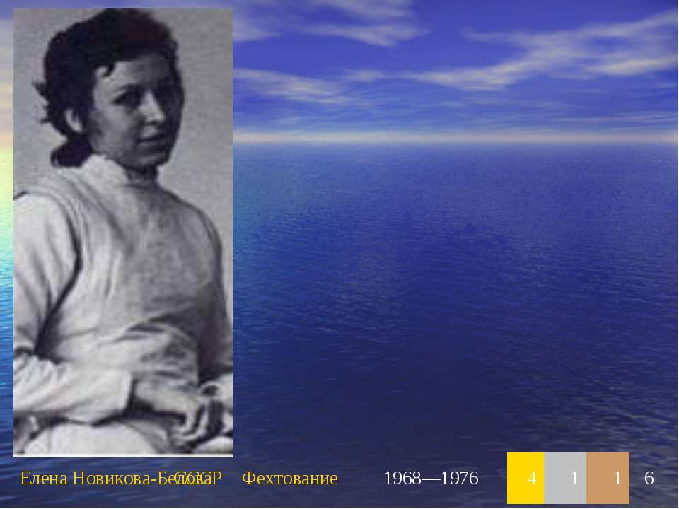 Елена Новикова-Белова СССР Фехтование 1968—1976 4 1 1 6