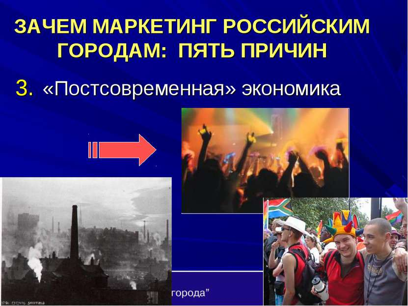 ЗАЧЕМ МАРКЕТИНГ РОССИЙСКИМ ГОРОДАМ: ПЯТЬ ПРИЧИН «Постсовременная» экономика