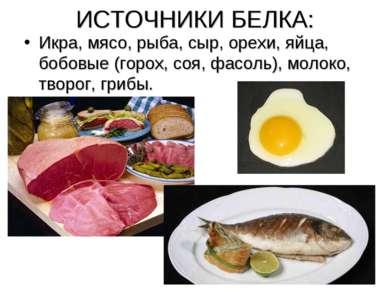 ИСТОЧНИКИ БЕЛКА: Икра, мясо, рыба, сыр, орехи, яйца, бобовые (горох, соя, фас...