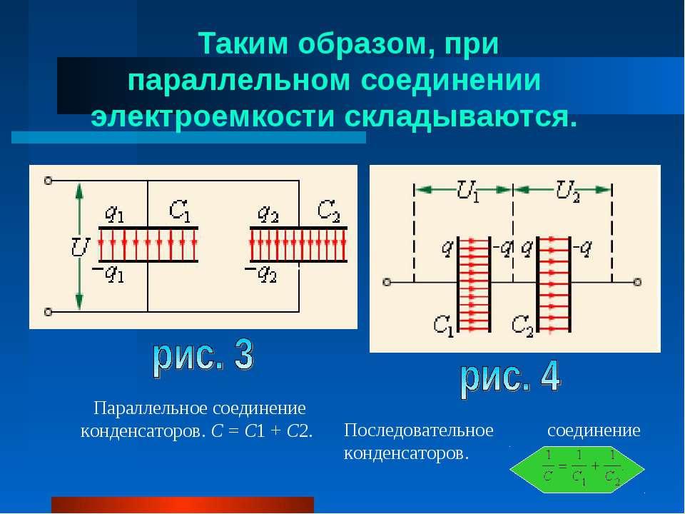 Таким образом, при параллельном соединении электроемкости складываются. Парал...