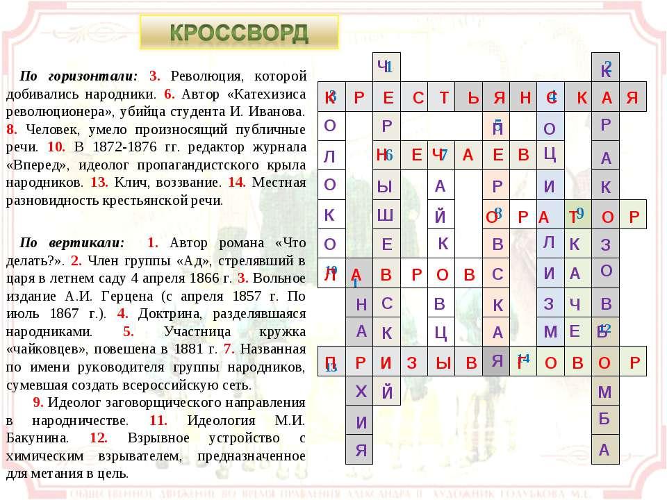 По горизонтали: 3. Революция, которой добивались народники. 6. Автор «Катехиз...