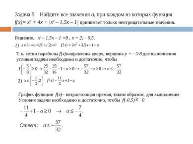 Задача 5. Найдите все значения а, при каждом из которых функция f(x)= x2 + 4x...