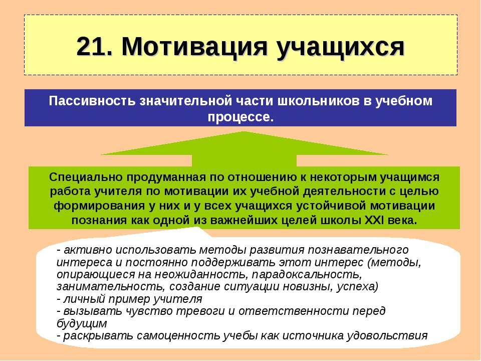 21. Мотивация учащихся Специально продуманная по отношению к некоторым учащим...