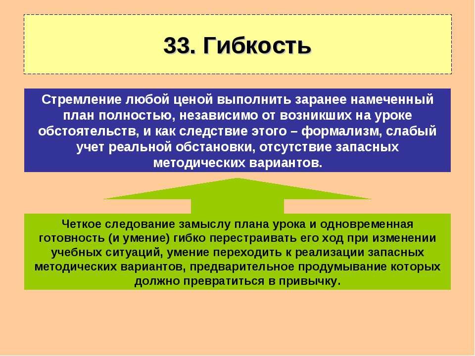 33. Гибкость Четкое следование замыслу плана урока и одновременная готовность...