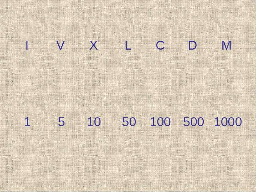 I X L C D M V 1 50 100 500 1000 10 5