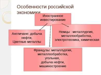 Особенности российской экономики Иностранное инвестирование Немцы : металлург...