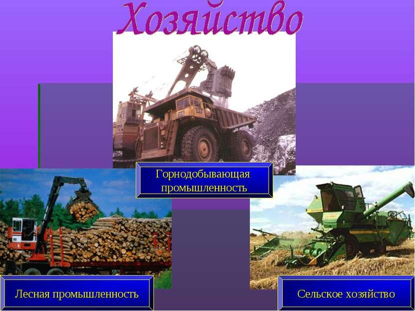 Горнодобывающая промышленность Сельское хозяйство Лесная промышленность