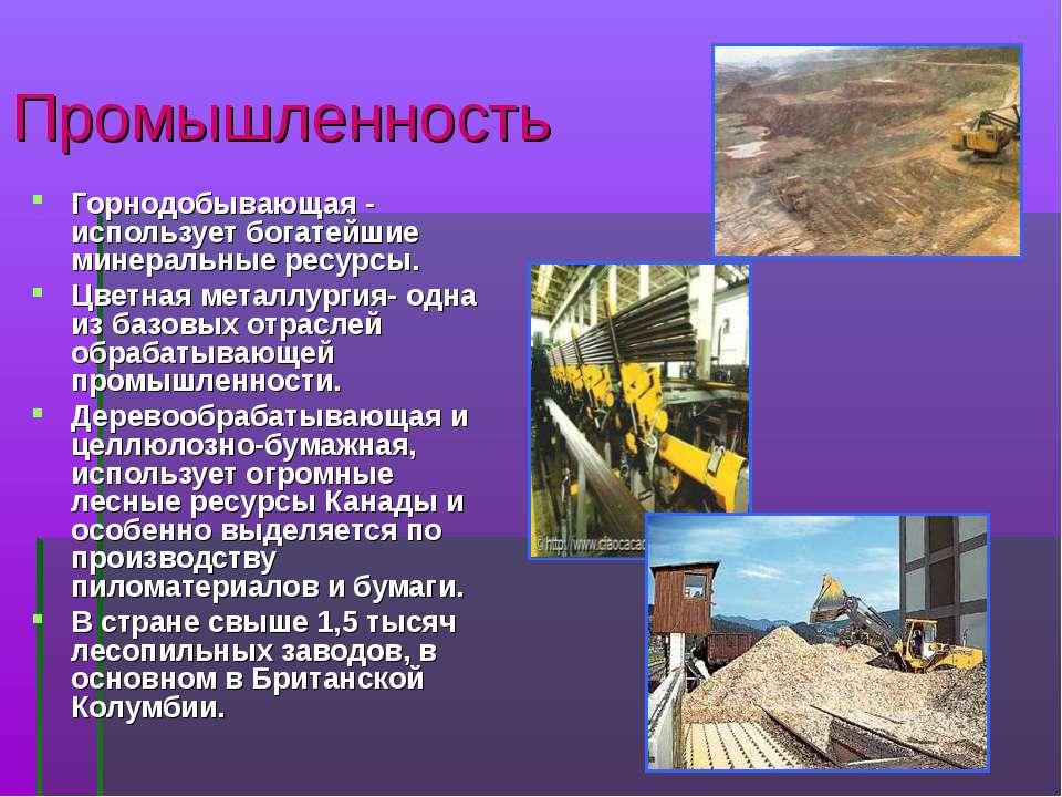 Промышленность Горнодобывающая - использует богатейшие минеральные ресурсы. Ц...