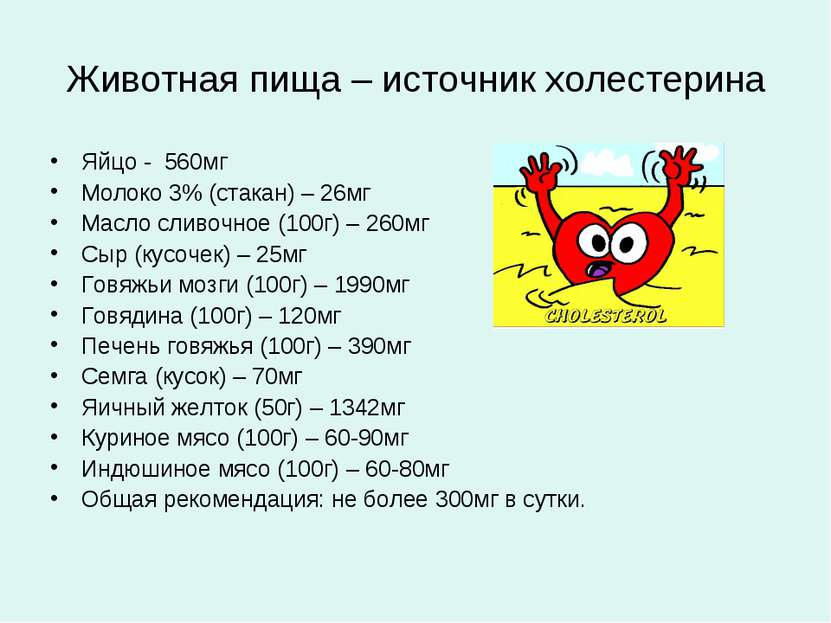 Животная пища – источник холестерина Яйцо - 560мг Молоко 3% (стакан) – 26мг М...