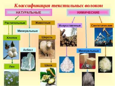 Классификация текстильных волокон НАТУРАЛЬНЫЕ ХИМИЧЕСКИЕ Искусственные Минера...