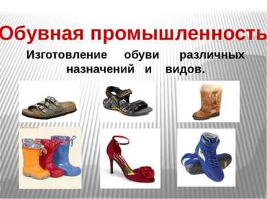 Обувная промышленность Изготовление обуви различных назначений и видов.