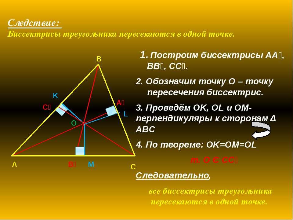 Следствие: Биссектрисы треугольника пересекаются в одной точке. 1. Построим б...