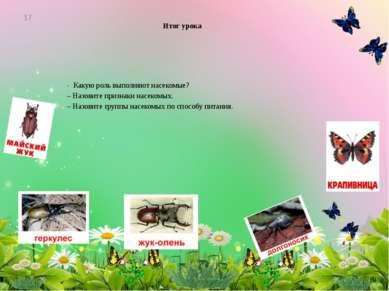 Итог урока - Какую роль выполняют насекомые? – Назовите признаки насекомых. –...