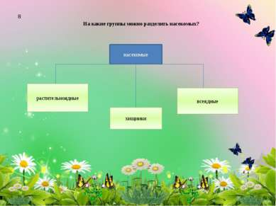 На какие группы можно разделить насекомых? растительноядные хищники всеядные ...