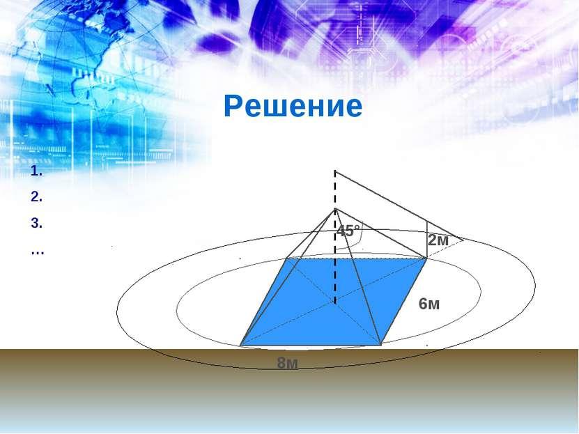 Решение 6м 8м 45° 2м 1. 2. 3. …