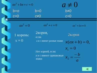 1 корень: x = 0 2корня, если: а и с имеют разные знаки Нет корней, если: а и ...