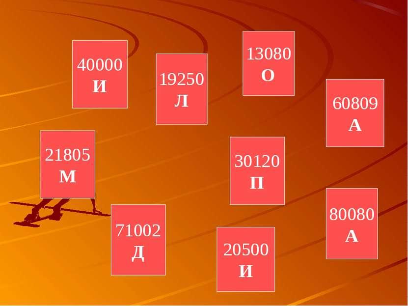 71002 Д 40000 И 30120 П 13080 О 60809 А 21805 М 20500 И 80080 А 19250 Л