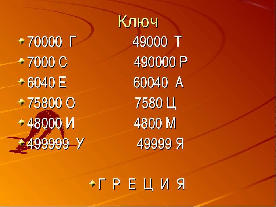 Ключ 70000 Г 49000 Т 7000 С 490000 Р 6040 Е 60040 А 75800 О 7580 Ц 48000 И 48...