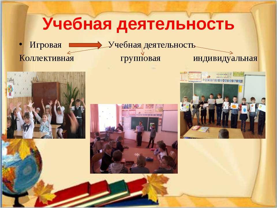 Игровая Учебная деятельность Коллективная групповая индивидуальная Учебная де...