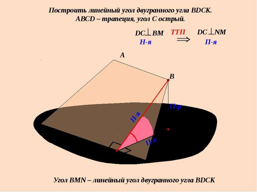 Построить линейный угол двугранного угла ВDСК. АВСD – трапеция, угол С острый...