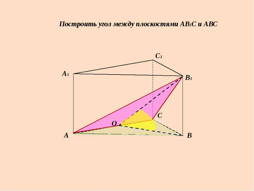 Построить угол между плоскостями АВ1С и АВС А А1 В В1 С С1 О