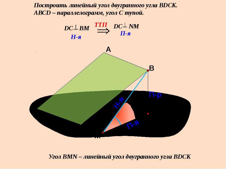 Построить линейный угол двугранного угла ВDСК. АВСD – параллелограмм, угол С ...
